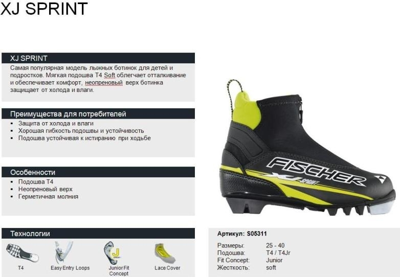 Ботинки лыжные FISCHER XJ SPRINT РАСПРОДАЖА!!!