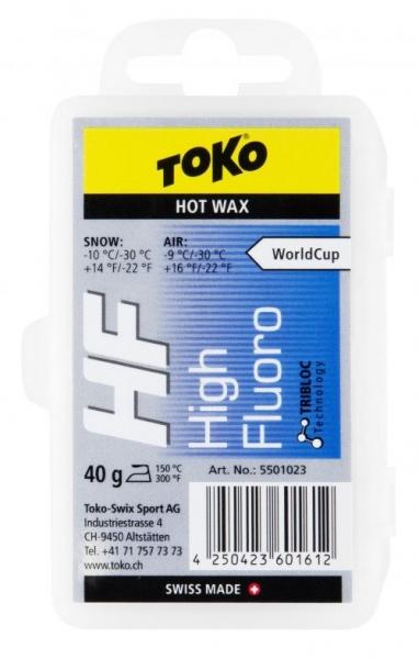 Парафин с высоким содержанием фтора TOKO HF TRIBLOC синий -10…-30°С