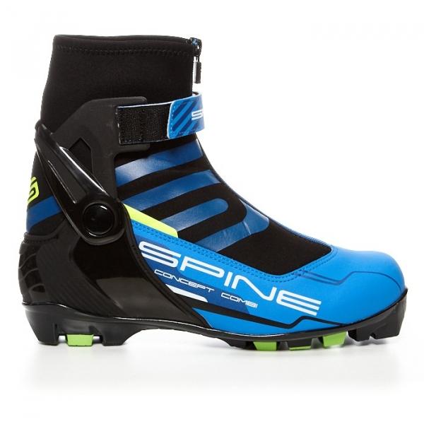 Лыжные ботинки для катания комбинированным стилем SPINE NNN Combi (синий/черный/салатовый)
