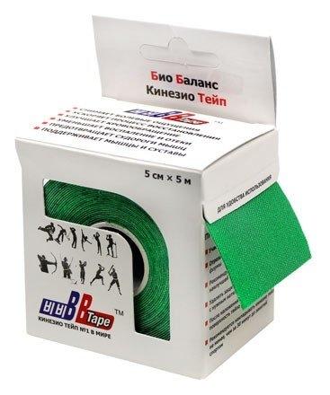 Кинезио тейп BBTape™ 5см × 5м зелёный