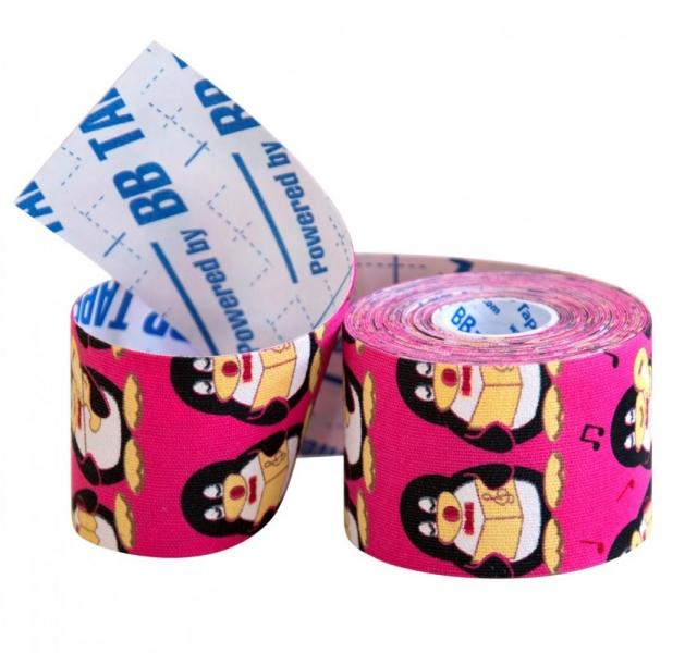 Кинезио тейп BBTape™ 5см × 5м пингвины розовый