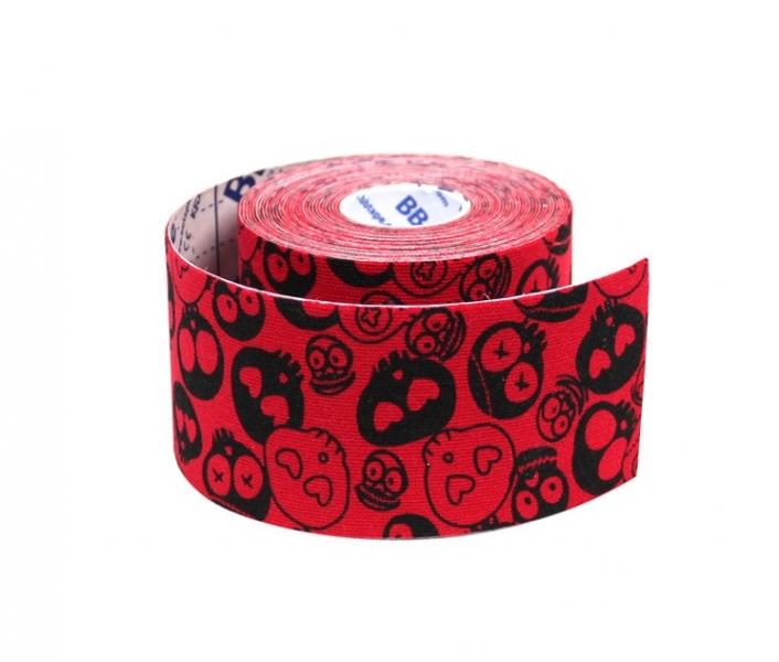 Кинезио тейп BBTape™ 5см × 5м черепа красный
