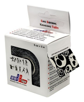 Кинезио тейп BBTape™ 5см × 5м черепа черный