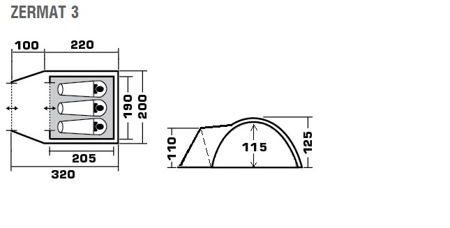 "Трёхместная палатка Trek Planet ""Zermat 3"""