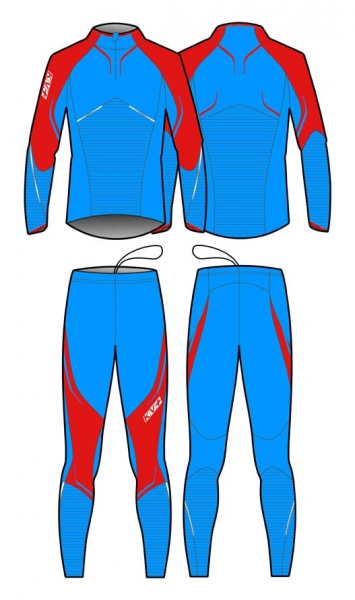 Комбинезон лыжный KV+ Premium suit, blue/red