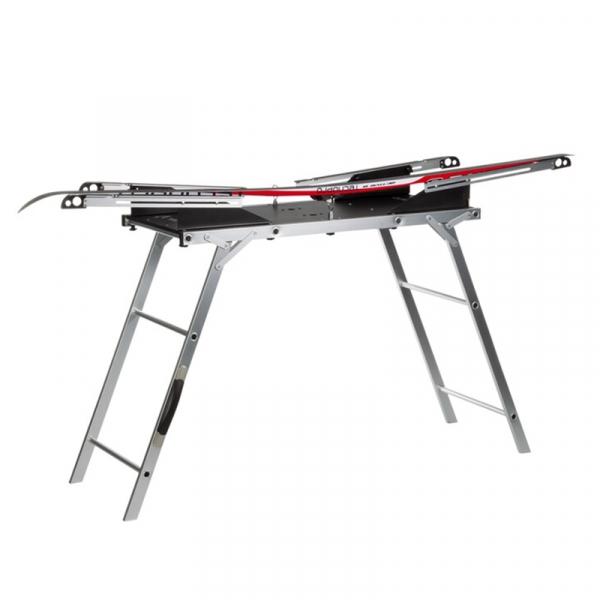 Профессиональный стол для подготовки лыж с двумя профилями TECNOPRO алюминиевый с деревянной столешницей (с чехлом)