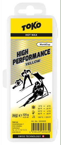 Парафин с высоким содержанием фтора TOKO High Performance Yellow, желтый воздух -4°…+10°C /снег 0...-6°C