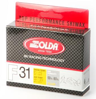 Парафин с высоким содержанием фтора  Solda F31, желтый. воздух -4°…+5°C /снег 0...-1°C