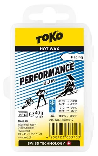 Парафин с содержанием фтора TOKO Performance Blue воздух -9°…-30°C /снег -10...-30°C