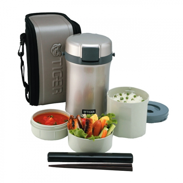 Термос для еды с контейнерами TIGER LWU-B170 Warm Silver