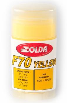 Парафин с высоким содержанием фтора SOLDA  Hyper Fluor F70 Yellow желтый воздух -7°…+...°C /снег 0...-4°C