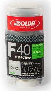 Парафин с высоким содержанием фтора SOLDA  F40 Carbon зеленый воздух -7°…-24°C /снег -11...-20°C.