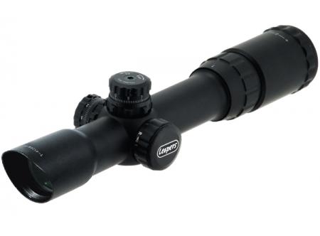 Оптический прицел Leapers 1-4X24 30mm Long Eye Relief CQB Scope с сеткой Glass Mil-dot RGB и кольцами QD (SCP3-1424MDQ)